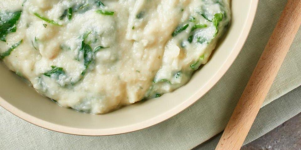 cheesy cauliflower and spinach mash