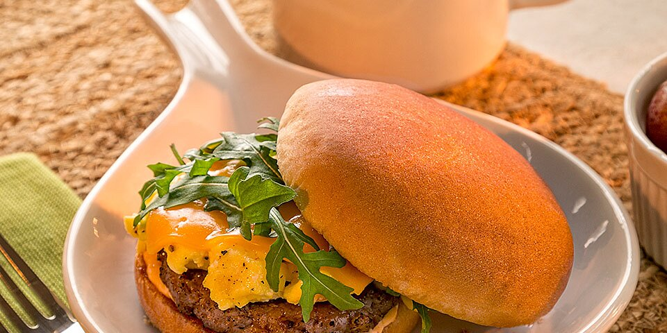 egg sausage and cheese breakfast sandwich