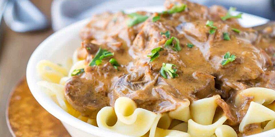 creamy slow cooker beef stroganoff recipe