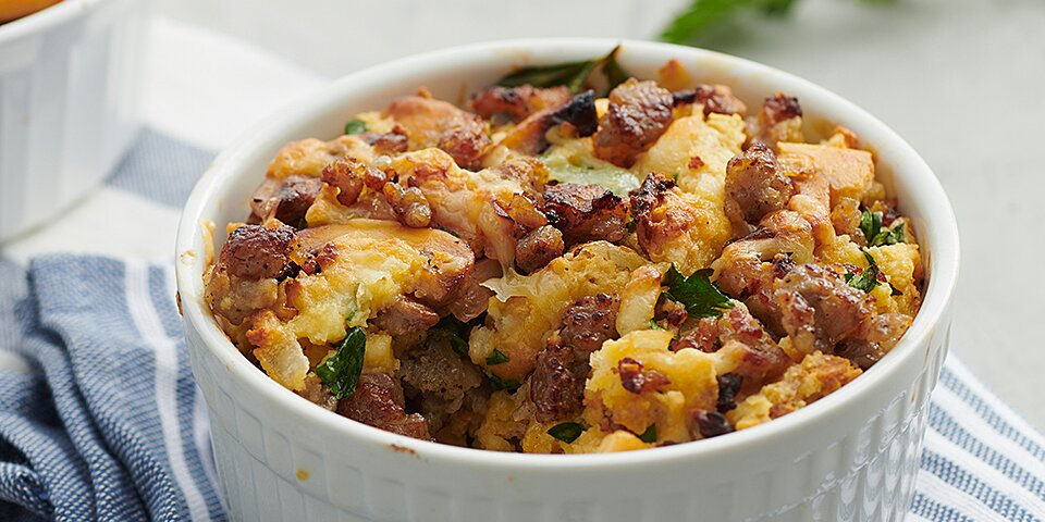 biscuit bread pudding with sausage and mushroom custard