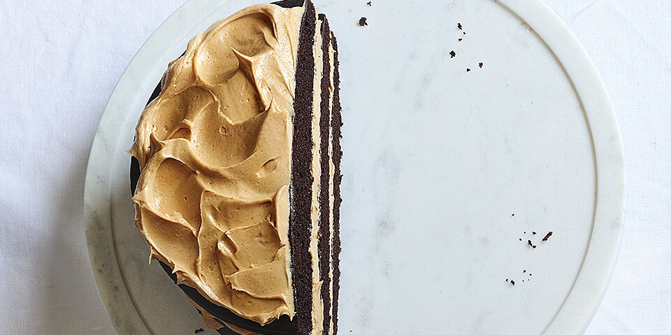 mocha layer cake with peanut butter frosting