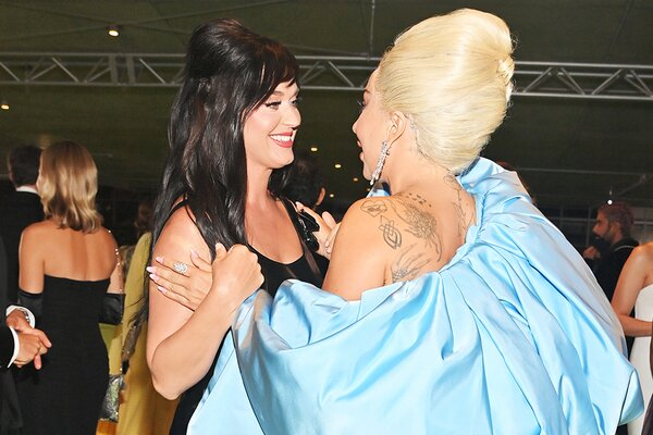 (L-R) Katy Perry and Lady Gaga attend the Academy Museum of Motion Pictures on September 25, 2021 in Los Angeles, California.