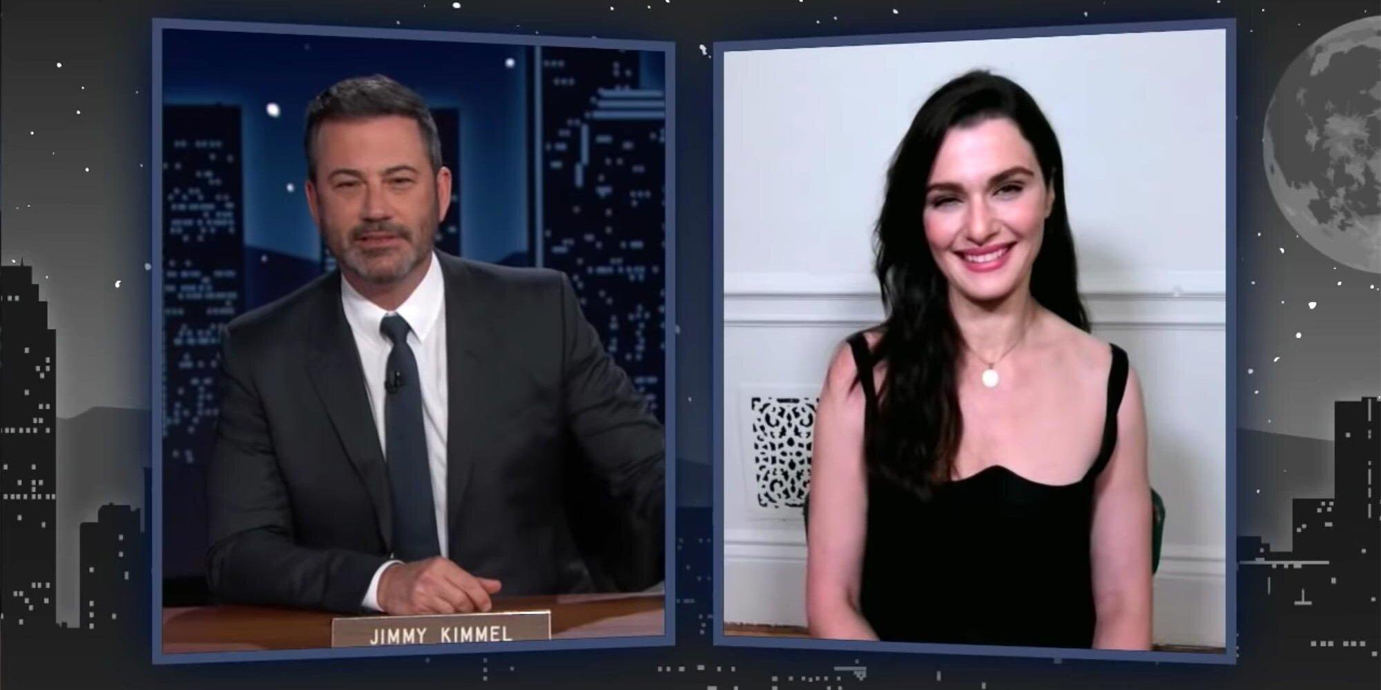 Rachel Weisz is visibly shaken after Jimmy Kimmel reveals her 'Black Widow' character's last name