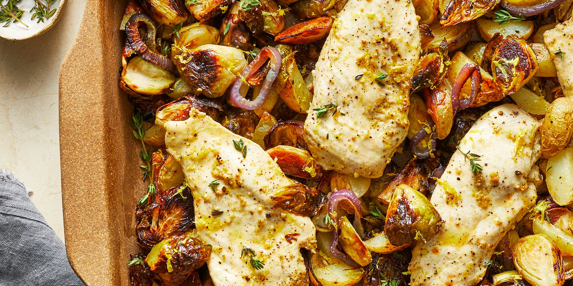 Lemon-Garlic Dump Dinner with Chicken, Potatoes & Brussels Sprouts