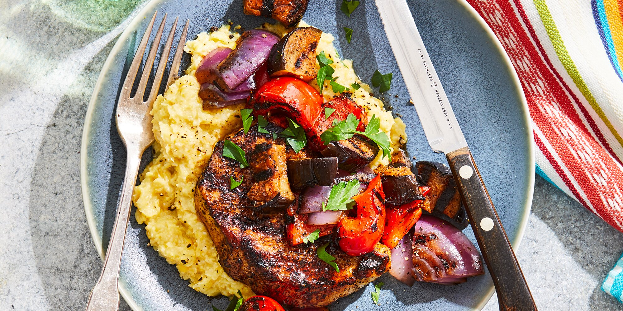 Grilled Pork & Vegetables with Fresh Corn Polenta