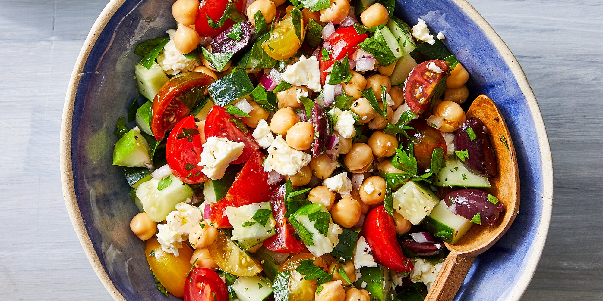 Chopped Salad with Chickpeas, Olives & Feta