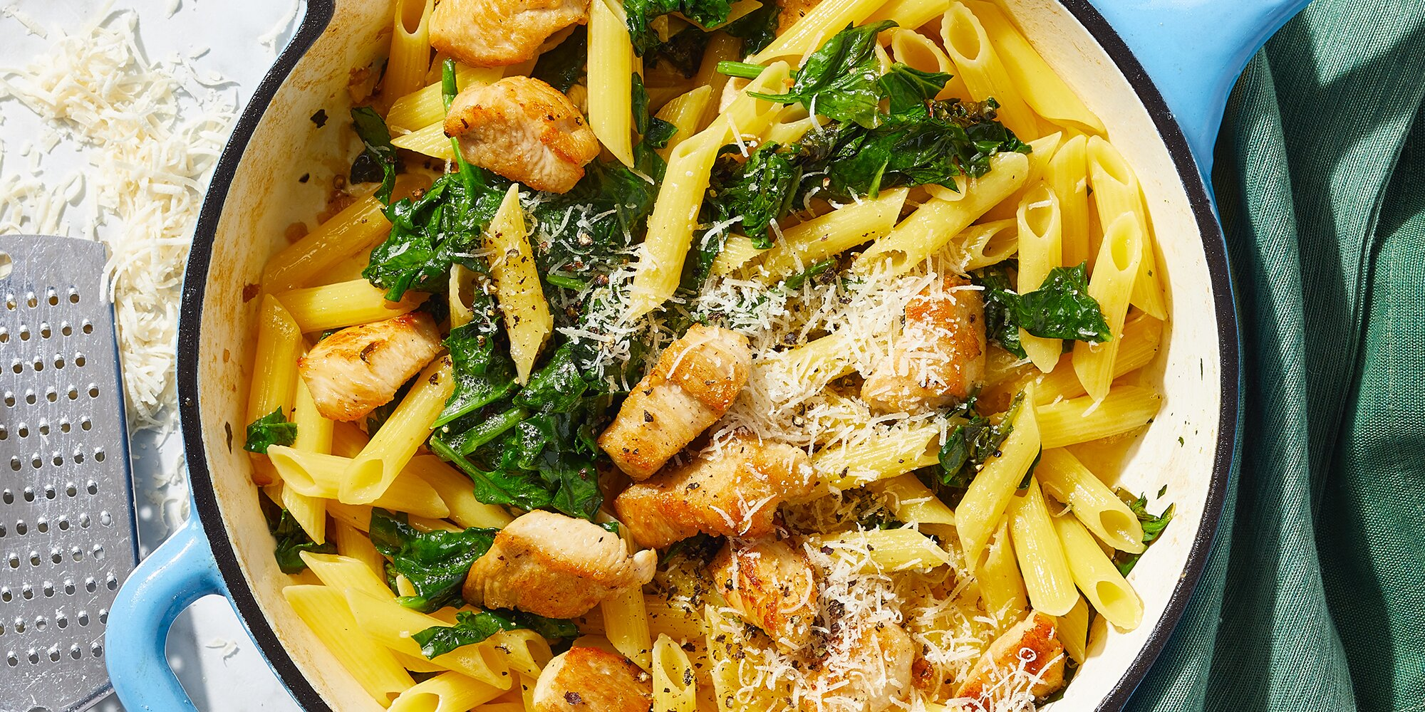 Chicken & Spinach Skillet Pasta with Lemon & Parmesan for Two