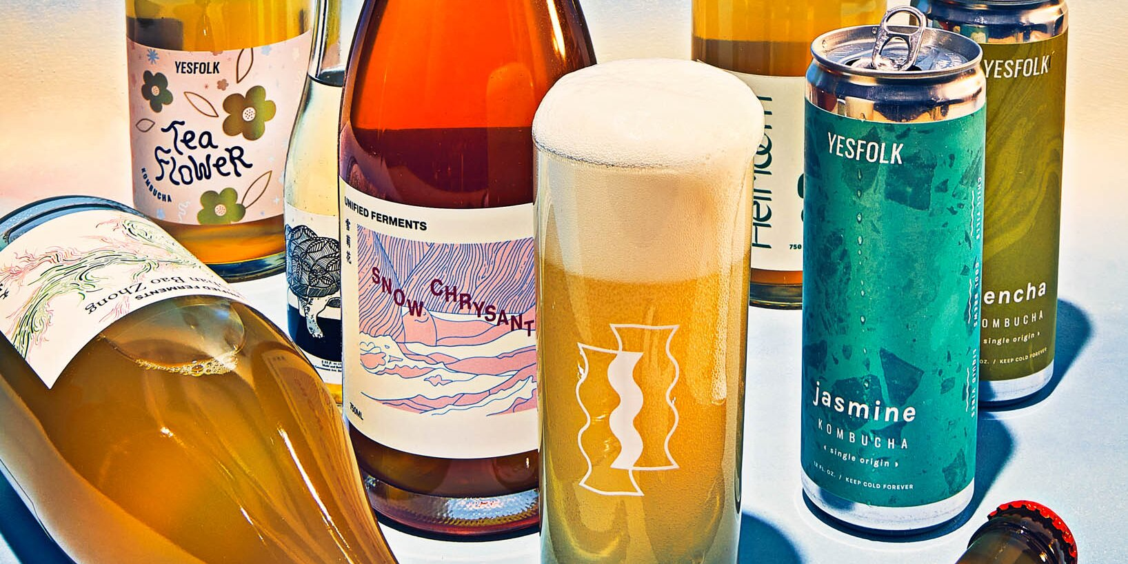 Bottles and cans from small batch kombucha brewers