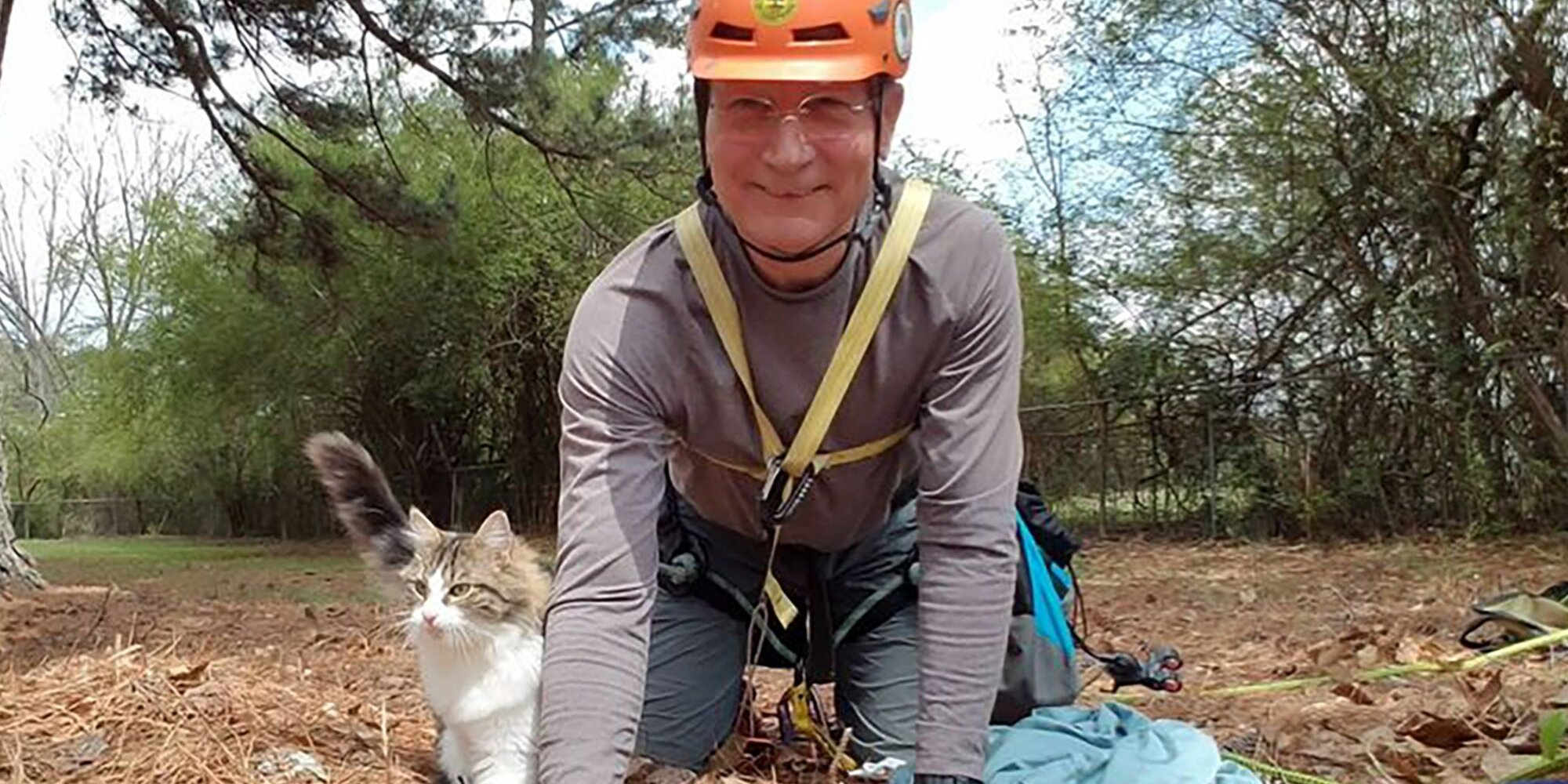 70-Year-Old Man Climbs 110 Feet to Save Stranded Cats