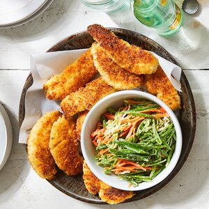 Buttermilk Fried Chicken Tenders with Snap Pea Slaw