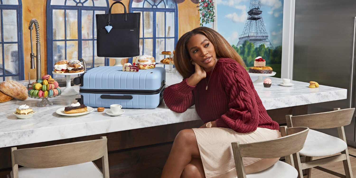 Serena Williams Visits Famous Travel Destinations from Her Home While Promoting New Away Luggage
