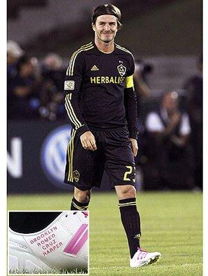 28fbd18d1 David Beckham Wears Soccer Cleats Bearing Kids  Names
