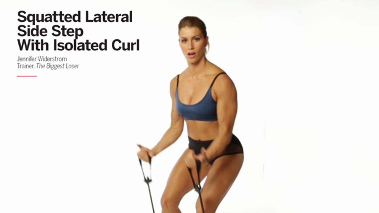 Squatted Lateral Side Step with Isolated Curl