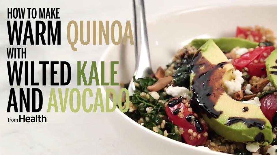 Warm Quinoa With Wilted Kale and Avocado