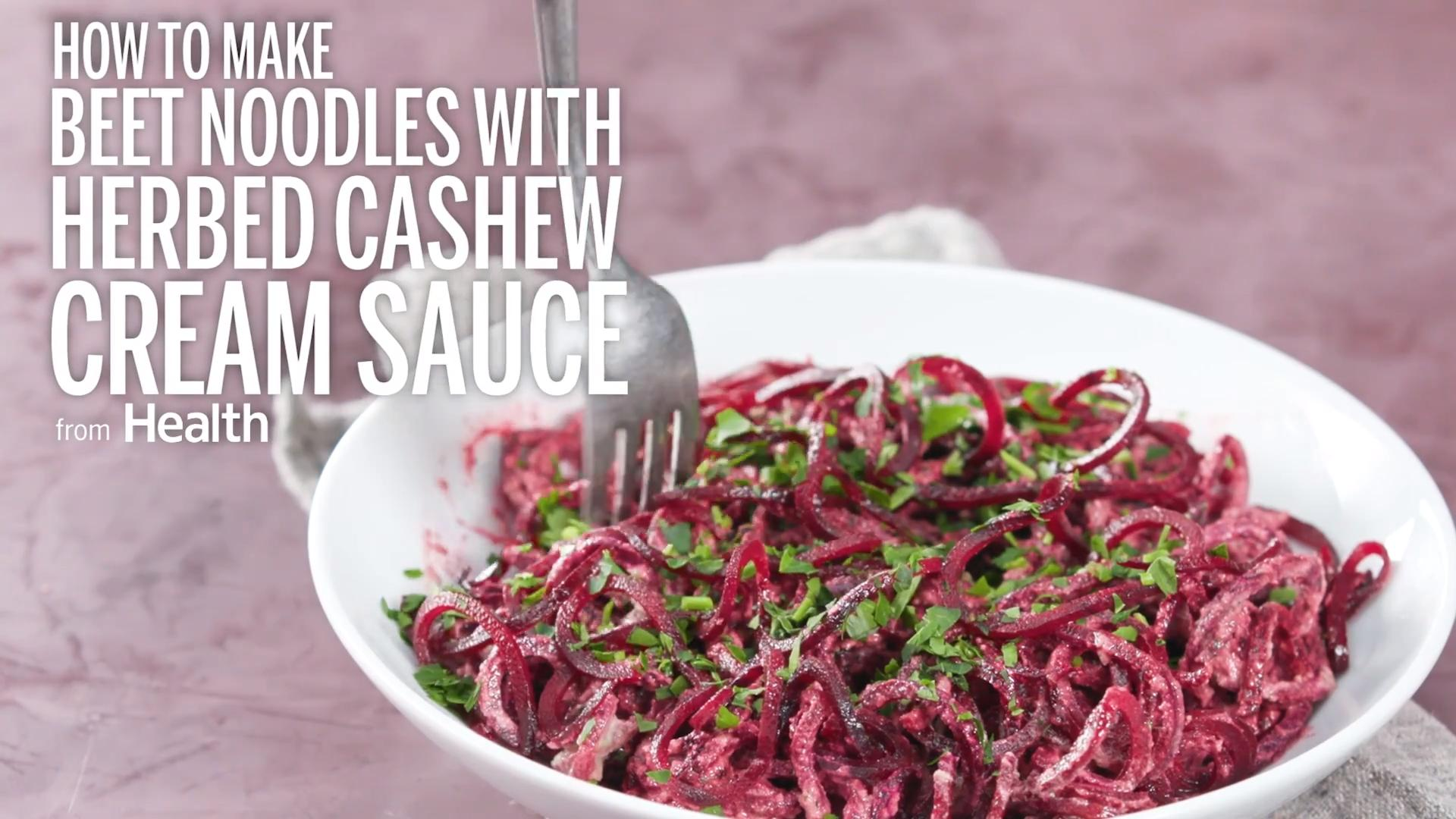 Beet Noodles With Herbed Cashew Cream Sauce