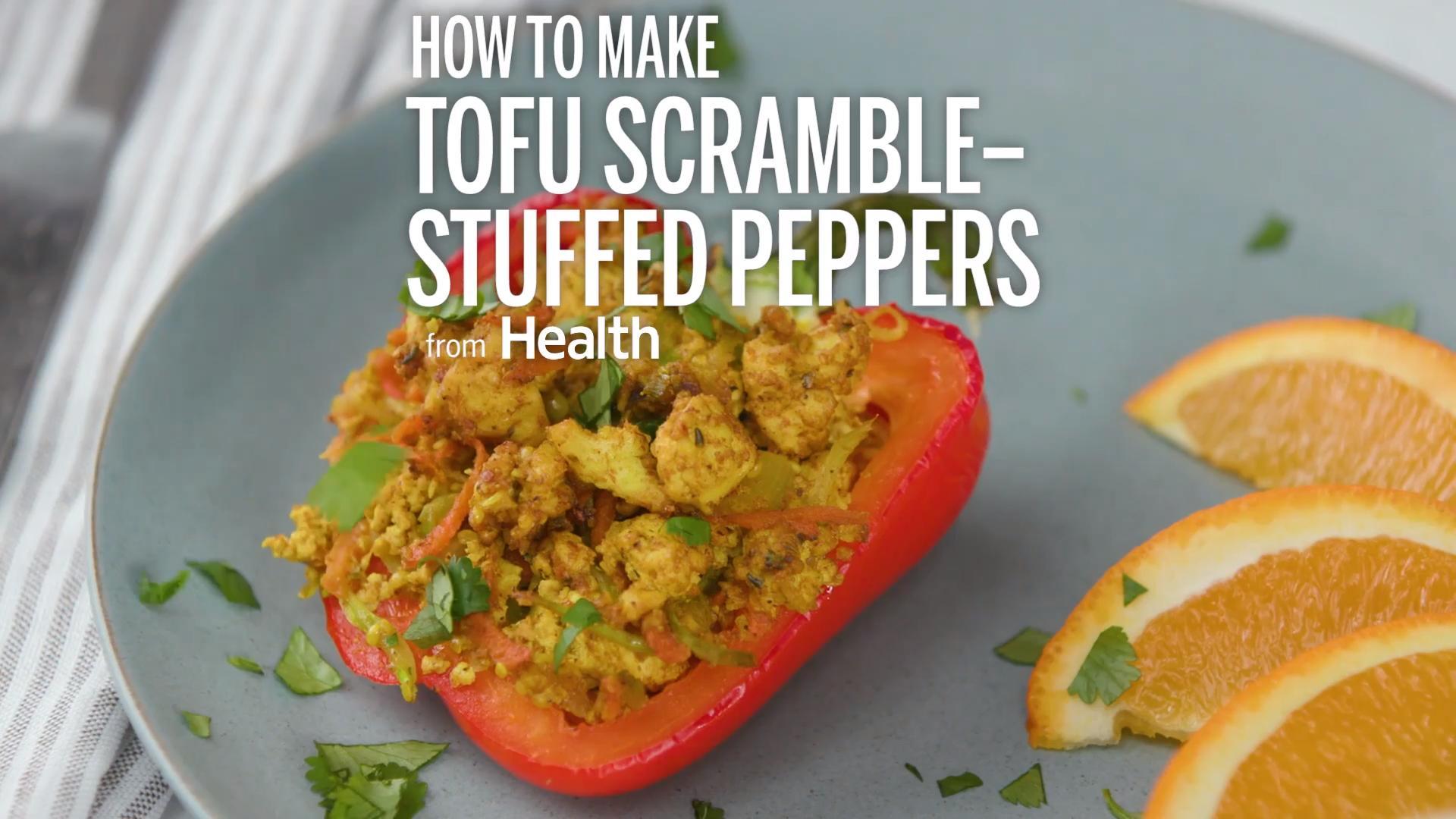Tofu Scramble–Stuffed Peppers