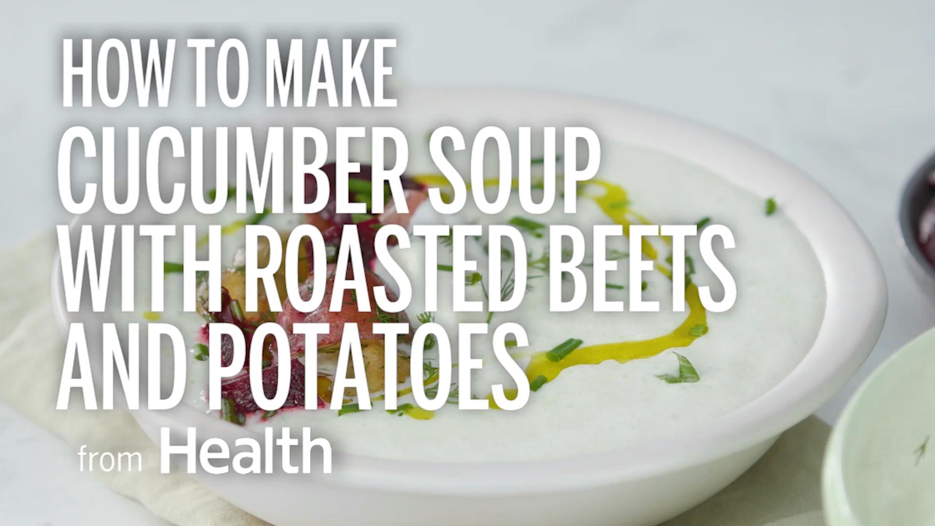 Cucumber Soup With Roasted Beet and Potatoes