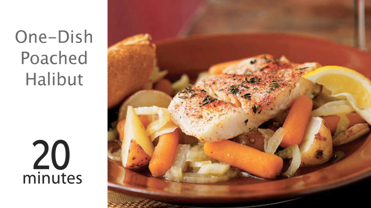 How to Cook One-Dish Poached Halibut and Vegetables