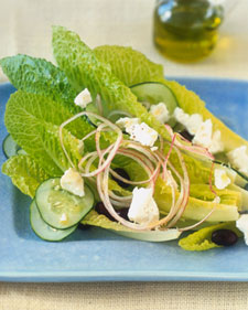Romaine Hearts with Feta Cheese, Black Olives, and Red Onions