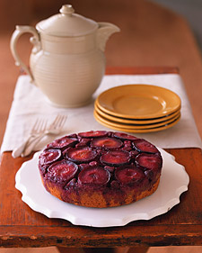 Plum and Raspberry Upside-Down Cake