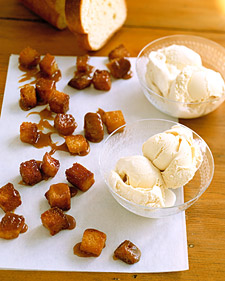 Ice Cream with Caramel Brioche Croutons