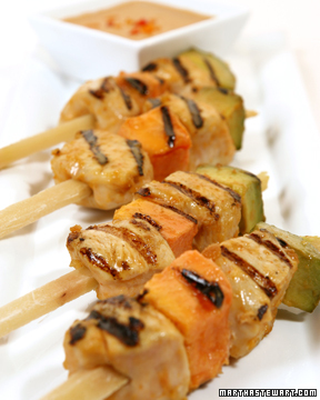 Tropical Chicken on Sugarcane Skewers with Peanut-Plantain Dipping Sauce