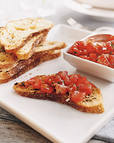 Herb Toasts and Tomato Salad