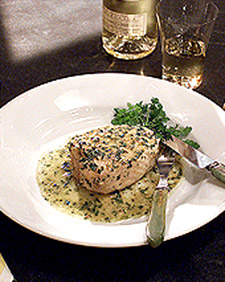 Eric's Poached Halibut in Warm Herb Vinaigrette