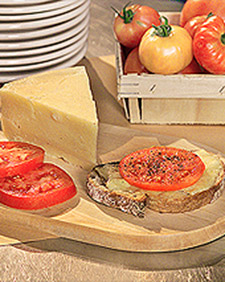 Open-Faced Grilled Cheese and Tomato Sandwich