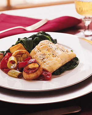Roast Cod with Leeks, Plum Tomatoes, and Wilted Spinach