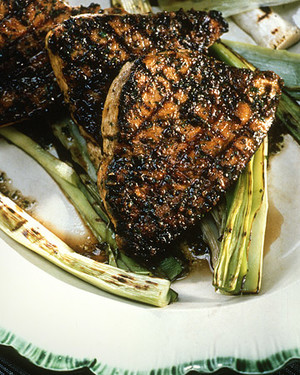 Grilled Swordfish Steaks with Olive Pesto