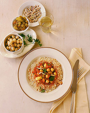 Couscous with Spiced Red Sauce, Chickpeas, and Almonds