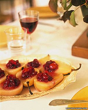 Poached Pears Filled with Cranberry Sauce