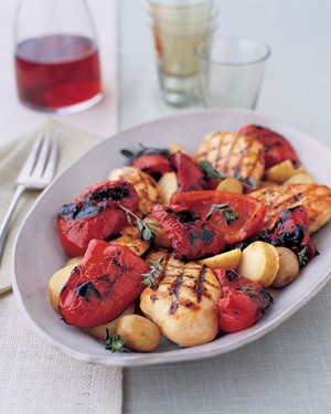 Herbed Chicken with Grilled Red Peppers