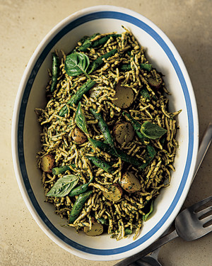 Trofie with Pesto, Green Beans, and Potatoes