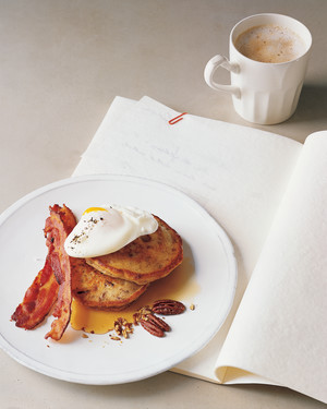 Poached Eggs with Bacon and Toasted Pecan Pancakes