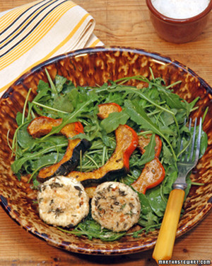 Roasted Acorn Squash Salad with Warm Goat Cheese Rounds