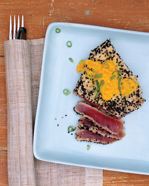 Sesame-Crusted Tuna with Carrot-Ginger Sauce