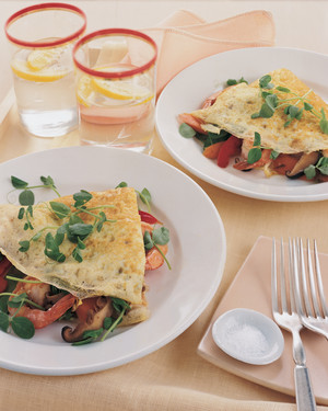 Stir-Fried Vegetable and Shrimp Omelet