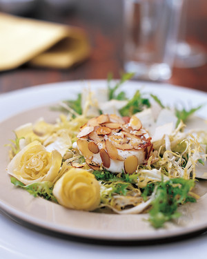 Almond-Coated Goat Cheese, Frisee, and Belgian Endive Salad