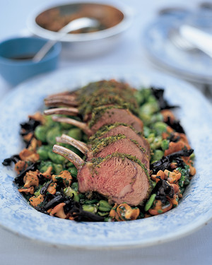 Roast Best End of Highgrove Lamb and Fava Beans with Mint and Marjoram