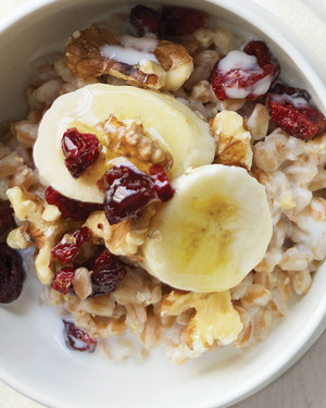 Farro with Bananas, Walnuts, and Dried Cranberries