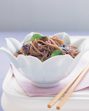 Cold Soba Noodles with Basil Flowers