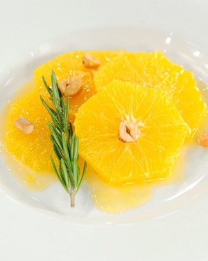 Sliced Oranges with Candied Hazelnuts