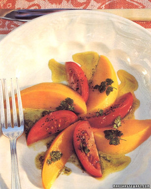 Mango and Tomato Salad with Basil Curry Dressing