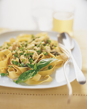 Pasta with Peas, Crab, and Basil