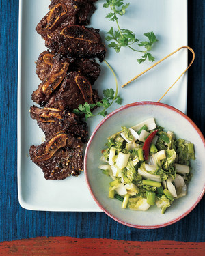 Korean Barbecued Ribs with Pickled Greens