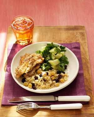 Chicken Tenders with Cucumber Salad and Chickpea Couscous