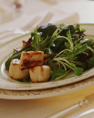 Grilled Scallops with Spring Greens