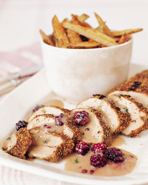 Mustard-Rubbed Pork with Blackberry-Mustard Sauce and Spiced Oven Fries